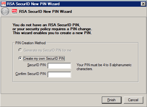 (A four digit PIN number is usually ideal) As your PIN is not displayed on-screen, enter it a second time into the Confirm SecurID PIN box. Click Finish.