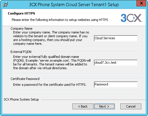6. The Installation Folder dialog will be displayed for the first tenant. This will contain the Tenant name in the Application Folder Path. This cannot be changed. 7.