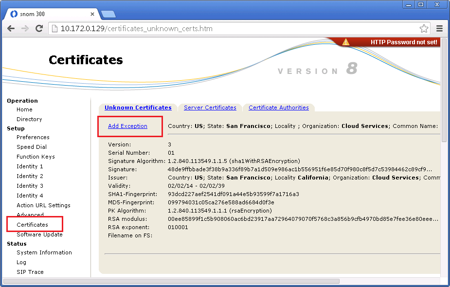 6. Navigate to Certificates > Unknown Certificates and in the section TLS Server Authentication click Activate.