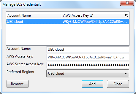 Information needed for setting these up can be found in the file eucarc from the downloaded credentials (euca2-admin-x509.zip that was renamed to mycreds.
