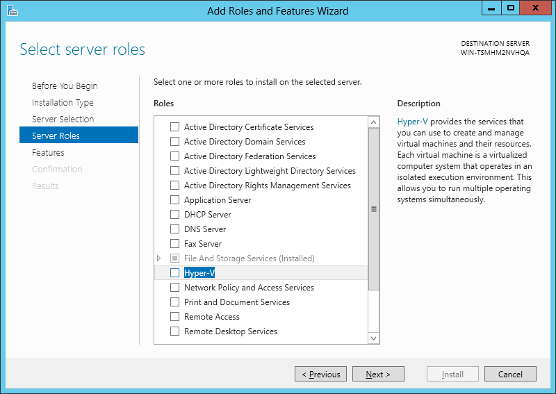 4.2.3 Hyper-V, MPIO and Failover Clustering Feature Installation In the Fast Track solution, the following role and features must be installed.