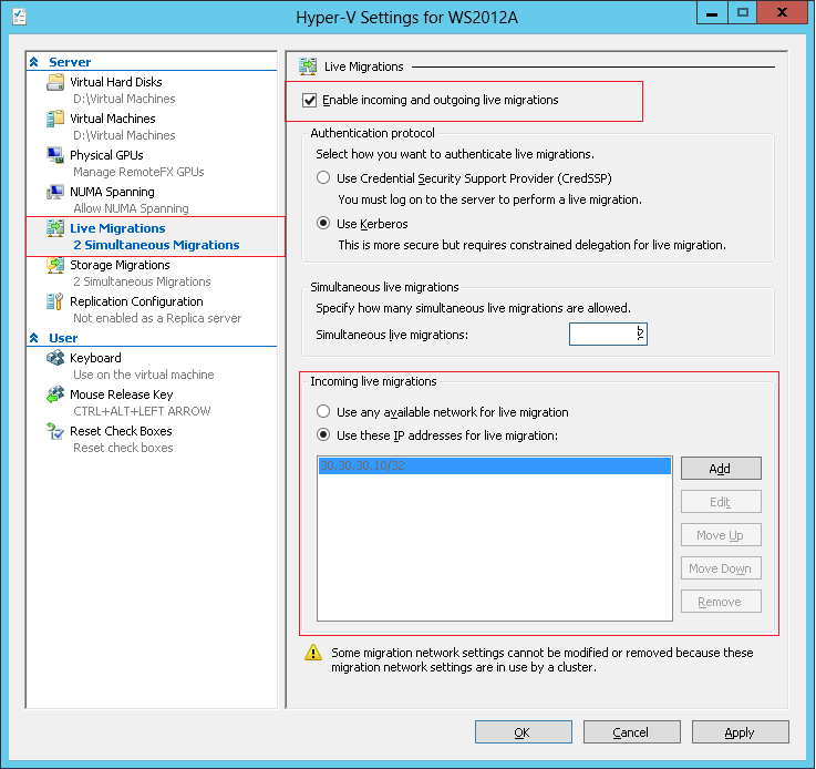 Step 5 In the Hyper-V Settings dialog, select Live migrations in left plane, and enable incoming and outgoing live migration, choose Kerberos as the default authentication protocol, set simultaneous