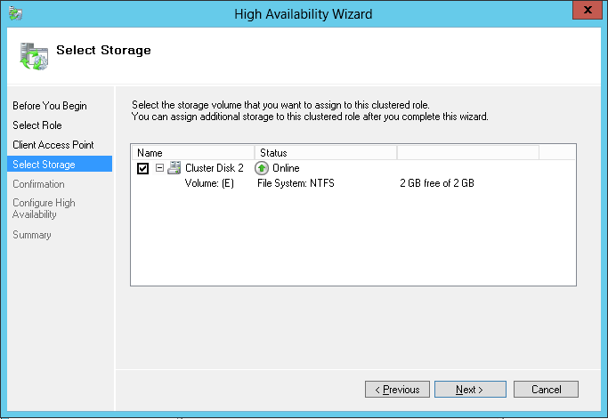Step 5 When finishing the above process, the configuration for Windows Server 2012 failover cluster high availability is complete successfully. ----End 4.