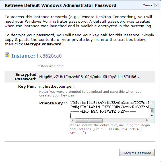 j. Check your new VM and click on More Actions >> Get Windows Password k.