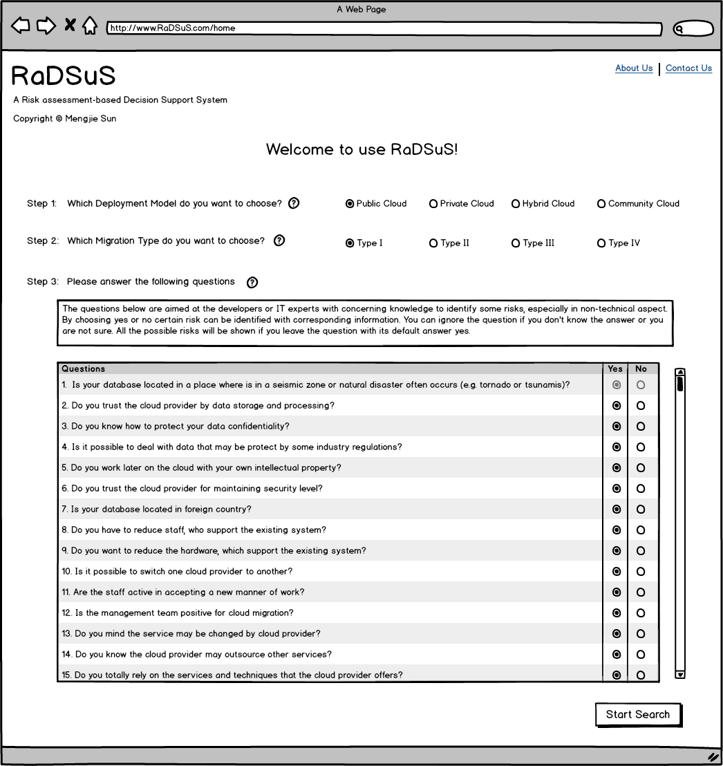 4 Design & Implementation In step 3, a series of questions are asked for aiming to specify the requirements for a better searching ability of risks.