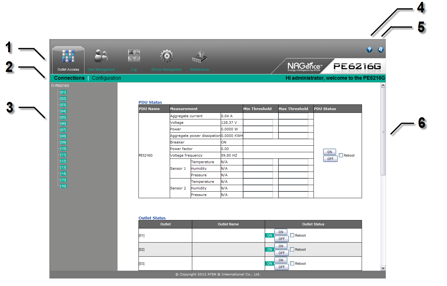 The eco PDU Main Page After you have successfully logged in, the eco PDU Main Page comes up with the Outlet Access Connections page displayed: