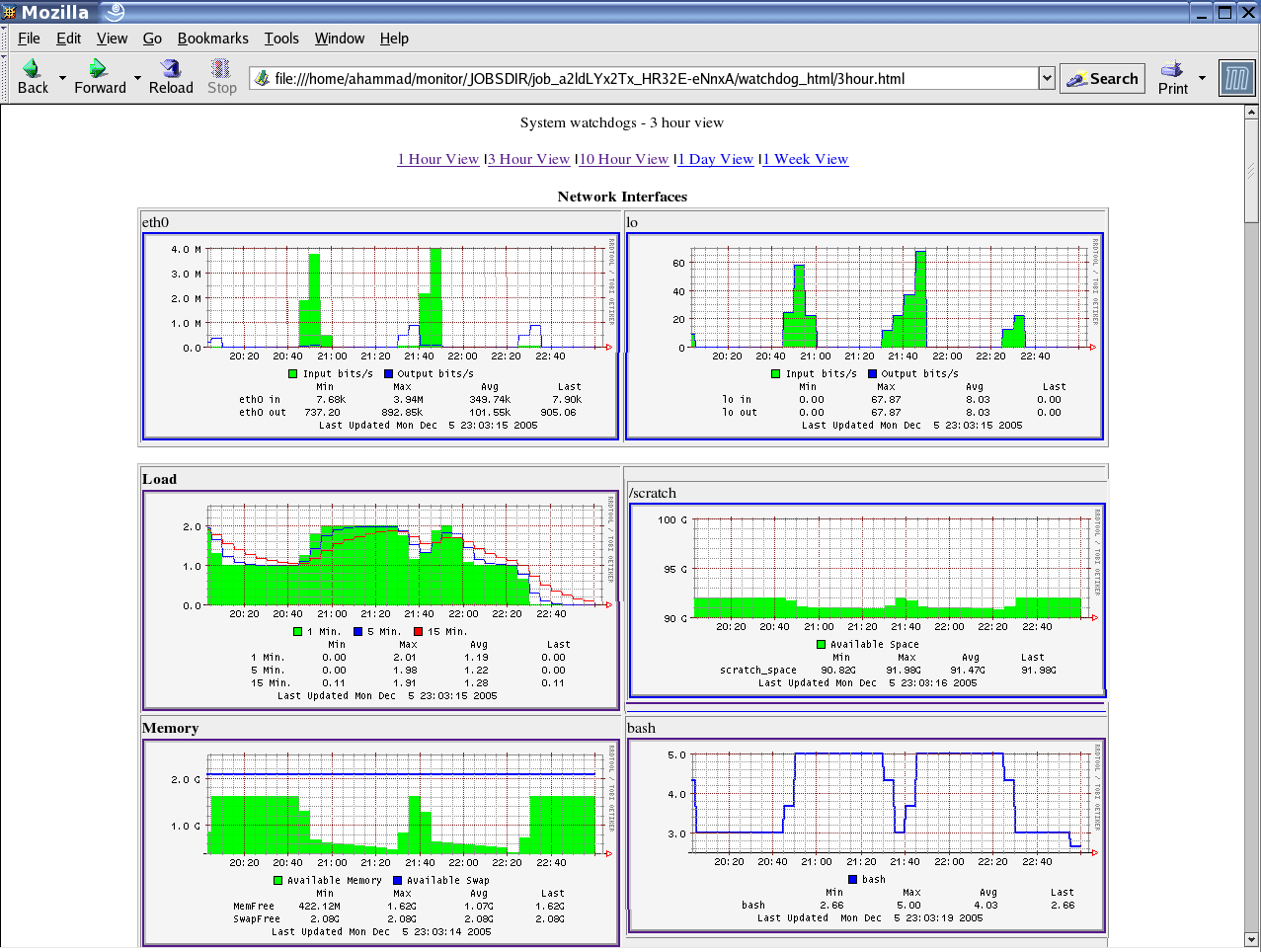5 THE JOB EXECUTION MONITOR 57 Figure 12: Example of JEMs HTML output [38] showing plotted system information like CPU usage, Memory consumption and network traffic on the Worker Node.