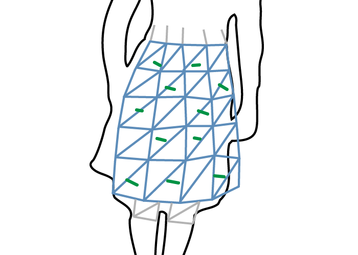 10. OPTICAL RECONSTRUCTION OF ANIMATABLE HUMAN BODY MODELS Figure 10.4: Two components of the error function on the cloth section (light blue) shown in 2D.