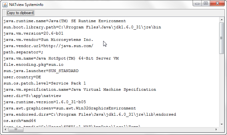 Verfaer: 8 Help Menu The help menu contains information about the application version and contains the command for requesting a trail license. 8.1 Show error recovery hints t.b.d. 8.2 System Info This command displays the Java environment.