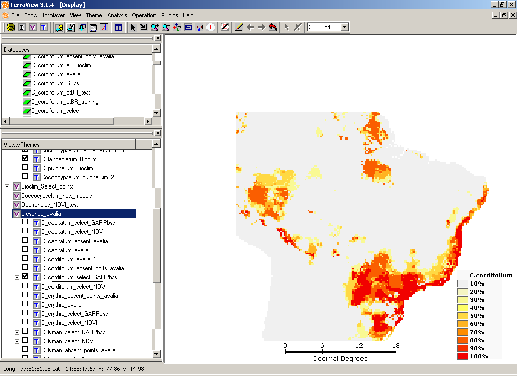 15 Figure 7: TerraView displaying a distribution map created with the modeling plugin.