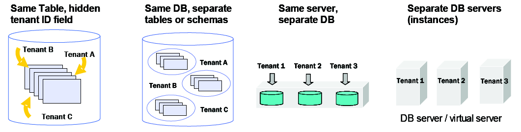 Multiple Tenants (MT) at Different Levels of