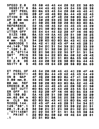 ASCII Data Hex decimal data related to left column of ASCII data Note: 1. Dump mode requires 4 wide paper width. 2. Turn off / on the power to resume printer for normal printing. 3.
