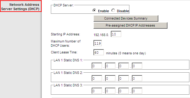 Set Up Basics Configure Network Address Server Settings Figure 6. Network Address Server Settings Section Network Address Server Settings (DHCP) Field Description DHCP Server.