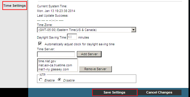 Set Up Basics Configure Time Settings The last section of the Quick Setup tab allows you to set up the correct time zone for the server in your location. Figure 7.