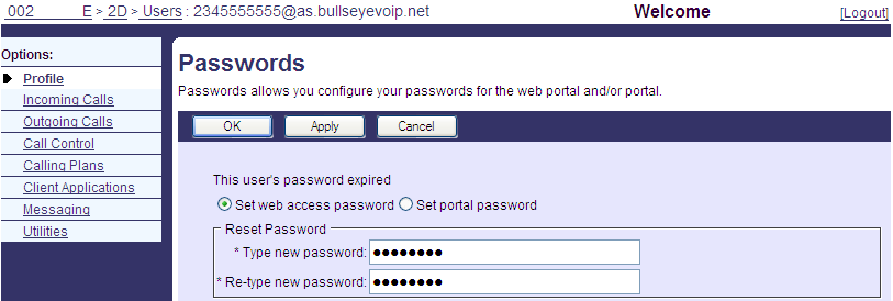 Resetting User Toolbar and Portal Passwords The following instructions can be used to reset a user s Digital Voice Toolbar password as well as their User Portal password including add-ons such as