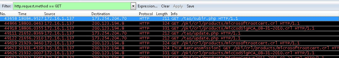 section displays some of the communications with the C&C server through Wireshark captures, which show how it communicates with the URLs: Image 27