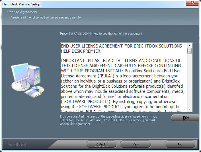Read the Software License Agreement. If you agree with the terms of the license and wish to continue the installation, click Yes.