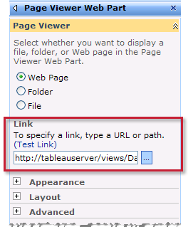 5. Back on the SharePoint page select Edit Web Part on the Edit menu for the new web part. 6. On the right side of the page, you can specify the attributes of the Page View Web Part.