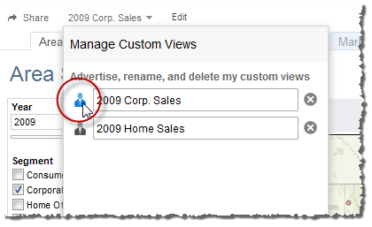 2. Under Manage Custom Views, click the icon next to the name of the view to switch between advertised and private.
