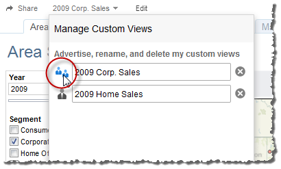 2. Under Manage Custom Views, click the icon next to the name of the view to switch between shared and private.