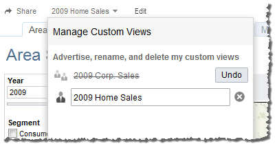 3. After removing a custom view, you can click Undo to restore the custom view.