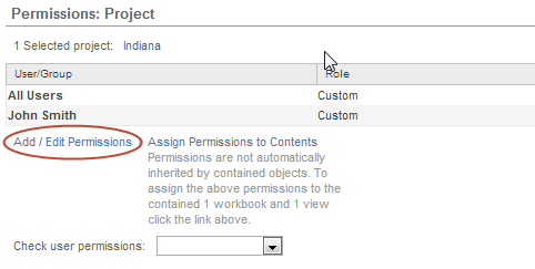 3. Click Add/Edit Permissions in the Permissions: Project page: 4.