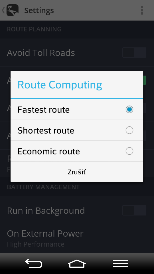 Avoid highways: Enable/disable avoiding motorways Avoid ferries: Enable/disable avoiding ferries Route computing: Choose priority of route computing between fastest/ shortest/economic route Menu >