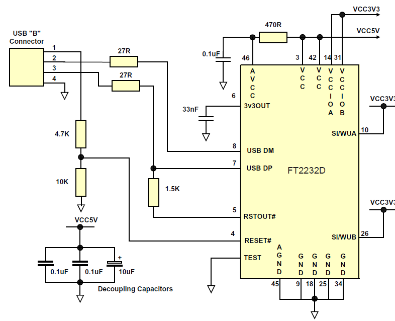 Figure 6.4 Self Powered Circuit with 3.3V logic drive and IO supply voltage Figure 6.4 is an example of a FT2232D USB self powered design with 3.3V interface.