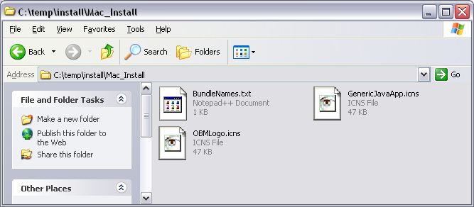 Figure 2.3.4 Contents of the termsofuse folder. Edit these files using any text editor. Figure 2.3.5 Contents of the Mac_Install folder. Edit BundleNames.