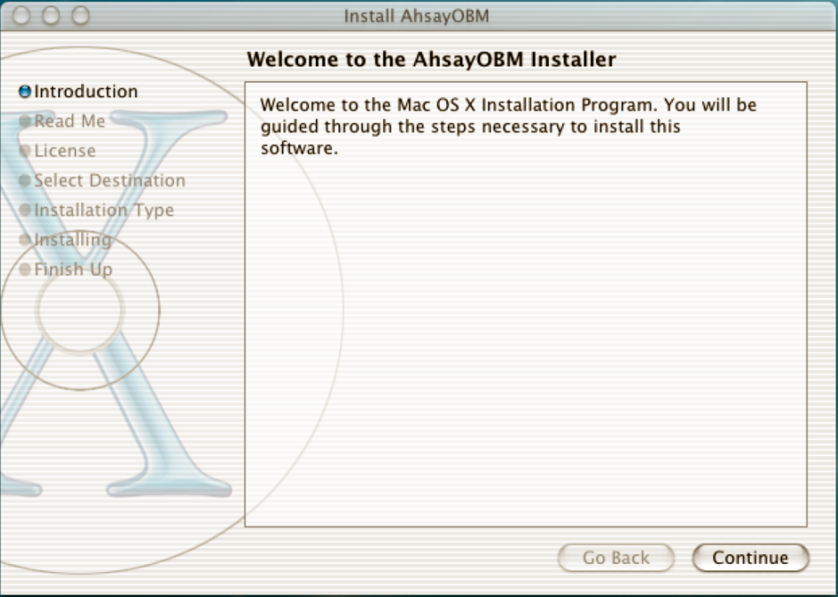 Figure 5.2.3 Mac OS X Installer in Action Request for authentication.