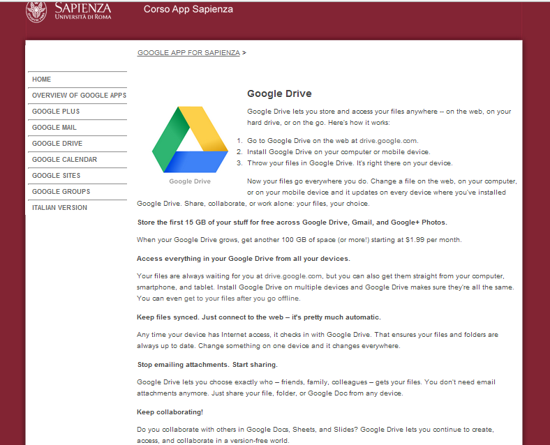 Google Apps: create and share document with DRIVE Google Drive Google Drive lets you store and access your files anywhere -- on the web, on your hard drive, or on the go.