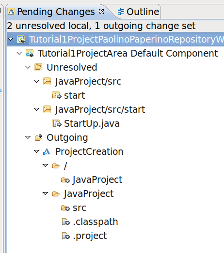 Unresolved Changes Changes to a local WS when a repo WS is loaded, are added to the Unresolved Changes dir of the repo WS. From the package view add a class src/start.