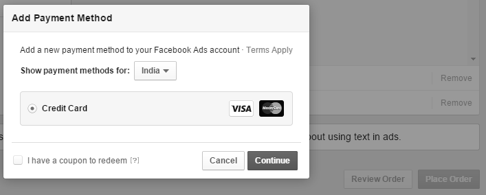 It takes you to entering the payment method where you can enter credit card details to pay for your ad.