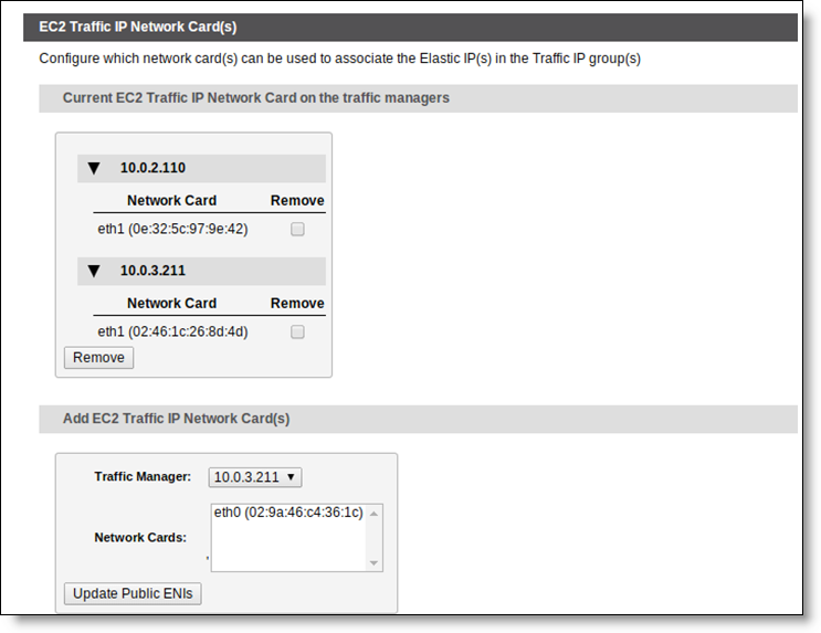 Creating a Traffic IP Group Traffic IP Groups and Fault Tolerance on Amazon EC2 Assigning Elastic IP Addresses to Specific Network Cards The Traffic Manager allows you to use multiple network cards