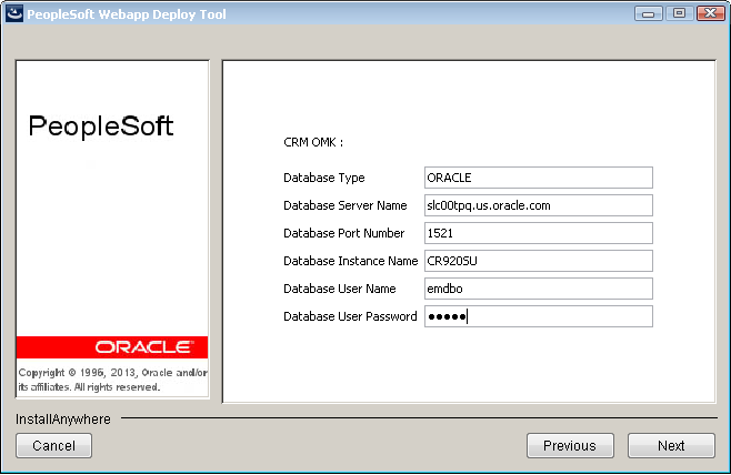 Chapter 3 Installing PeopleSoft Online Marketing 9.2 10. On the application package selection page, select the CRM OMK check box option as the application package to deploy and click Next.