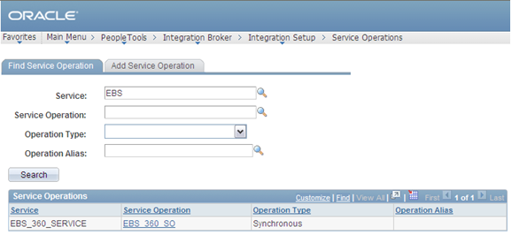 Integrating PeopleSoft Customer Relationship Management 9.2 with Oracle E-Business Suite Chapter 6 1. Select PeopleTools, Integration Broker, Integration Setup, Service Operations.