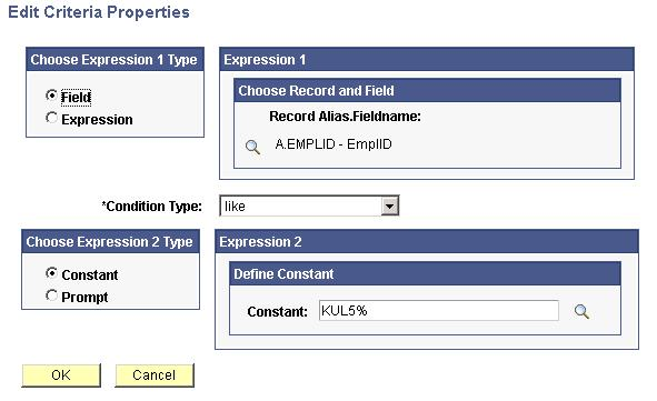 Integrating PeopleSoft CRM and PeopleSoft HCM Using Query Access Service Chapter 14 8. In the EMPLID Name field, click the filter icon.
