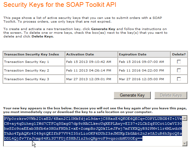 Installing PeopleSoft CRM 9.2 Applications Chapter 1 3. Copy the key that is generated in the text box. Security Keys for the SOAP Toolkit API 4.