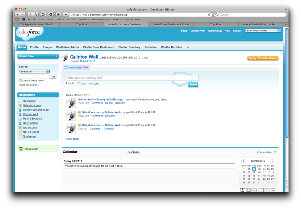 33 Figure 8: Example of the Salesforce home screen all the traditional information.