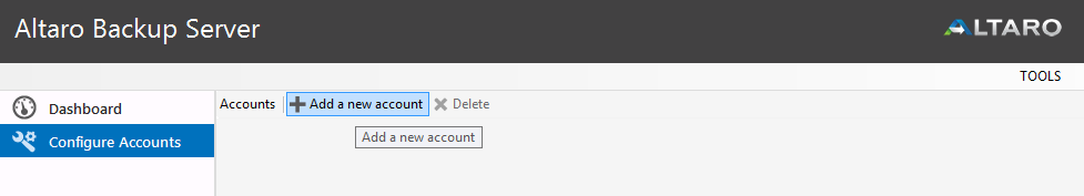 To set up an account that can connect to this Altaro Backup server, click Configure Accounts: Then