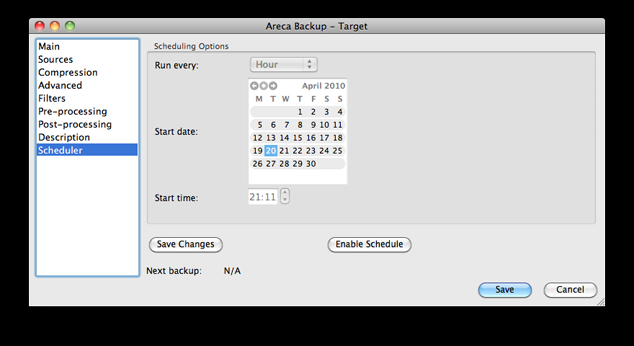 Figure 4.11: The Scheduler tab without a scheduled job (controls disabled).