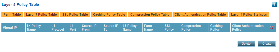 29. Click the Set button to save the parameters. 30. Verify that the new entries were created on the Layer 7 Policies Table page: Create Layer 4 Policy 1.