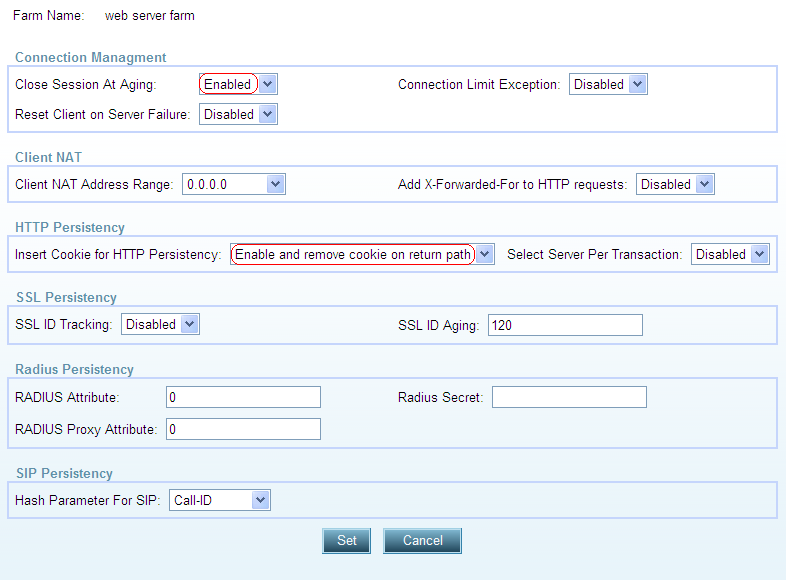 5. Repeat step 1 4 for extended farms: Server_53_Farm and App_Server_Farm to add Client NAT Address Range.