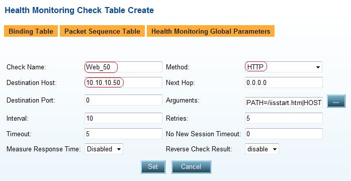 3. Click the Set button to save parameters. 4. Create the Health Monitoring Checks. 5.