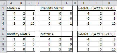 222 Chapter 8 Principal Components Analysis 8 F i g u r e 8. 6 The array formulas used for the matrix multiplications are shown as text values starting in cells I1 and I6.