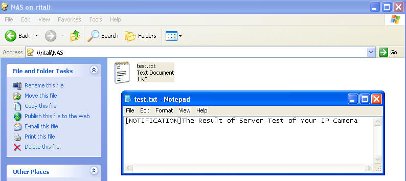 If successful, you will receive a test.txt file on the networked storage server. 3. Enter a server name. 4. Click Save to complete the settings and click Close to exit the page.