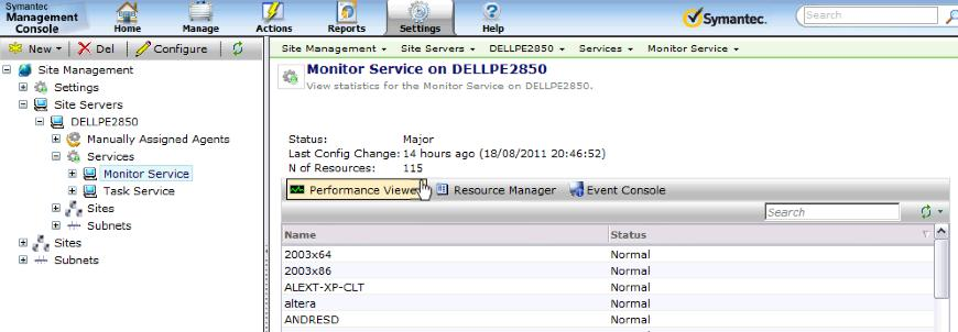 Remote Monitoring Server (RMS) The RMS gets automatically installed onto the Symantec Management Platform Server and can be identified by checking the Symantec Management Agent settings