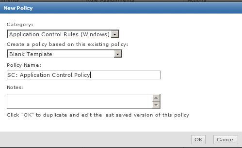 Create a new Policy: BEST PRACTICE TIP: create new policies based on the Blank Template to ensure that only the updater