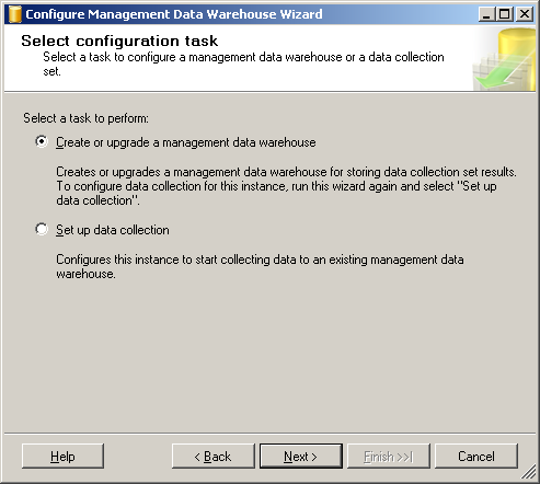 2. If there is a Welcome screen, click past it to arrive at the [Select configuration task] dialog box.