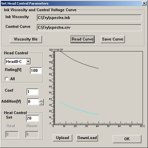 Figure 10-2-12 Dialog box for setup print head voltage 1) Load Ink Viscosity Curve: Press Viscosity File button, select spectral.ink for FY6250LQ.